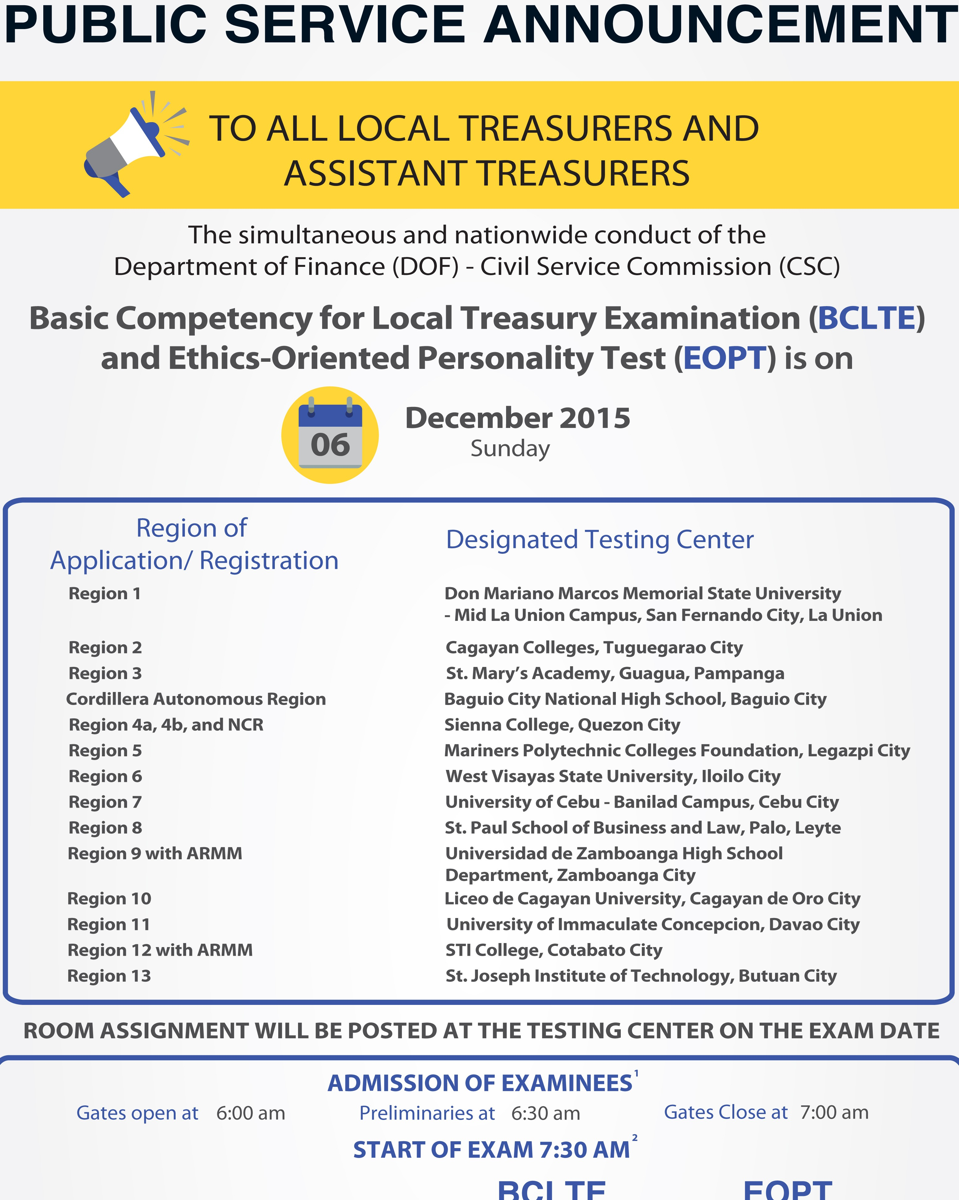 Basic Competency for Local Treasury Examination (BCLTE ...
